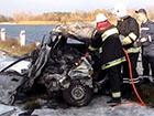 Автомобіль зіткнувся з вантажівкою та згорів разом з водієм