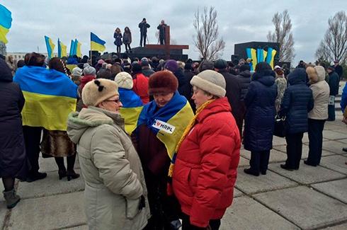 У Маріуполі замість мітингу проти мобілізації, відбувся мітинг прихильників України - фото