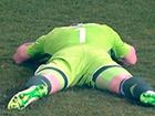 На матчі Росія – Чорногорія в голову воротаря Акінфєєва влучив фаєр