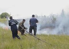 Продовжується гасіння торфу під Чорнобилем - фото