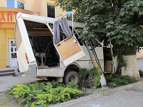 У Кам'янець-Подільському маршрутка врізалася в дерево, є постраждалі - фото