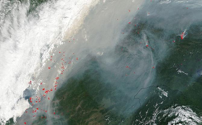 NASA показала як з космосу виглядає масштабна пожежа в Сибіру - фото