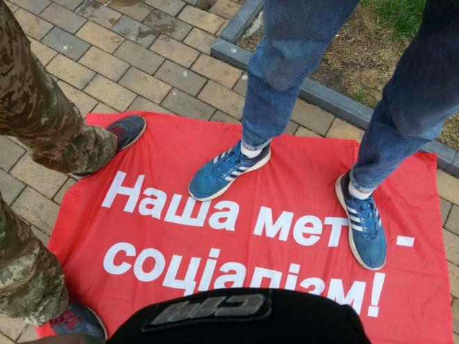 У Вінниці на першотравневому мітингу стався конфлікт - фото