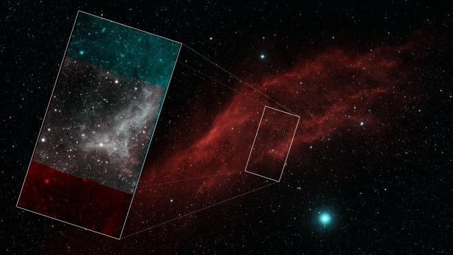 Туманність Каліфорнія на фінальному мозаїчному зображенні телескопу «Спітцер» - фото