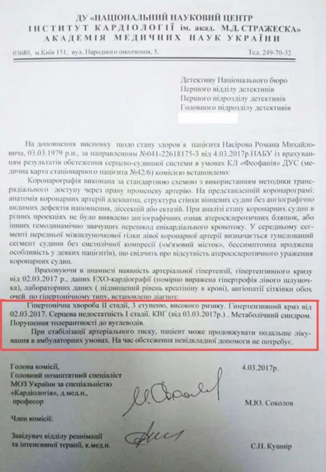 висновок інституту кардіології щодо стану здоров′я Романа Насірова