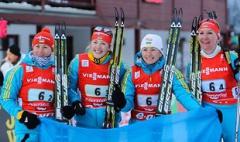Украинские биатлонистки завоевали золото в на Кубке мира - фото