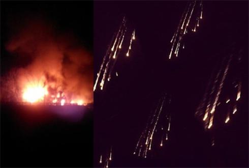 Боевики обстреливали жилой квартал Песков вероятно фосфорными бомбами - фото
