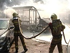 В Сумах во время движения загорелась маршрутка с пассажирами