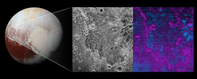 NASA показала участок поверхности Плутона, где происходит сублимация метанового льда - фото