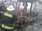 На Харьковщине полностью выгорел пассажирский автобус (фото)