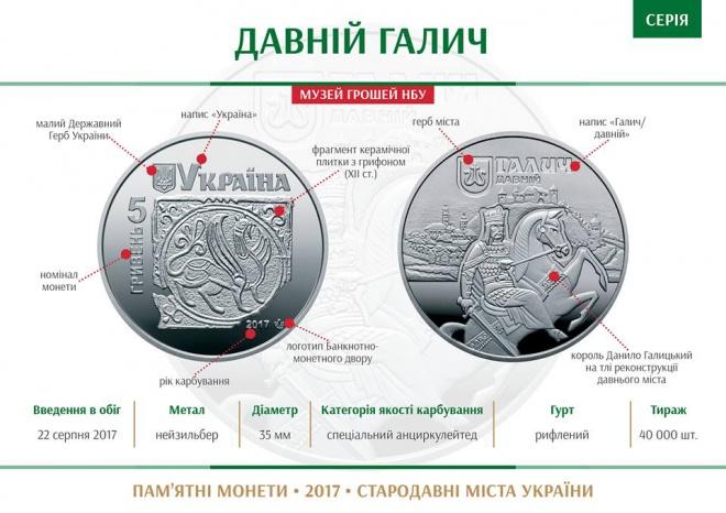 Нацбанк выпустил монету «Древний Галич» - фото