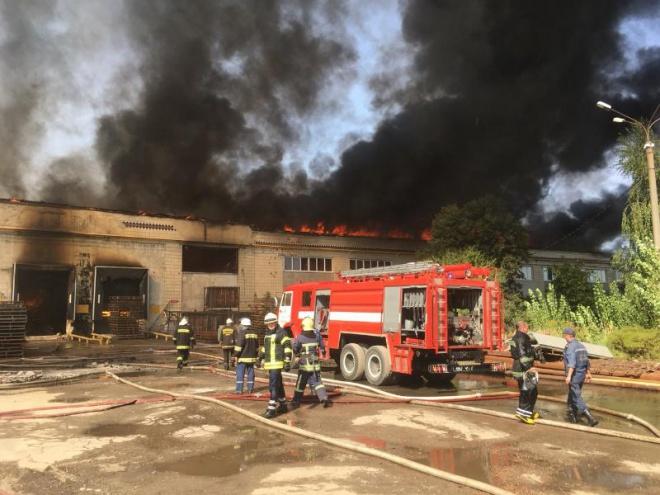 В Житомире возник масштабный пожар на картонном комбинате - фото