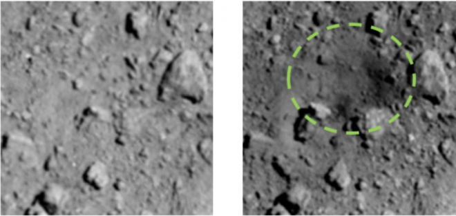 Японцы показали кратер на астероиде, созданный во время бомбардирования - фото