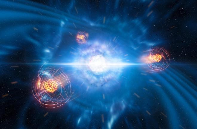 Впервые идентифицирован тяжелый элемент, рожденный от столкновения нейронных звезд - фото