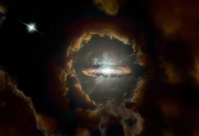 В ранней Вселенной найдена галактика с массивным вращающимся диском - фото